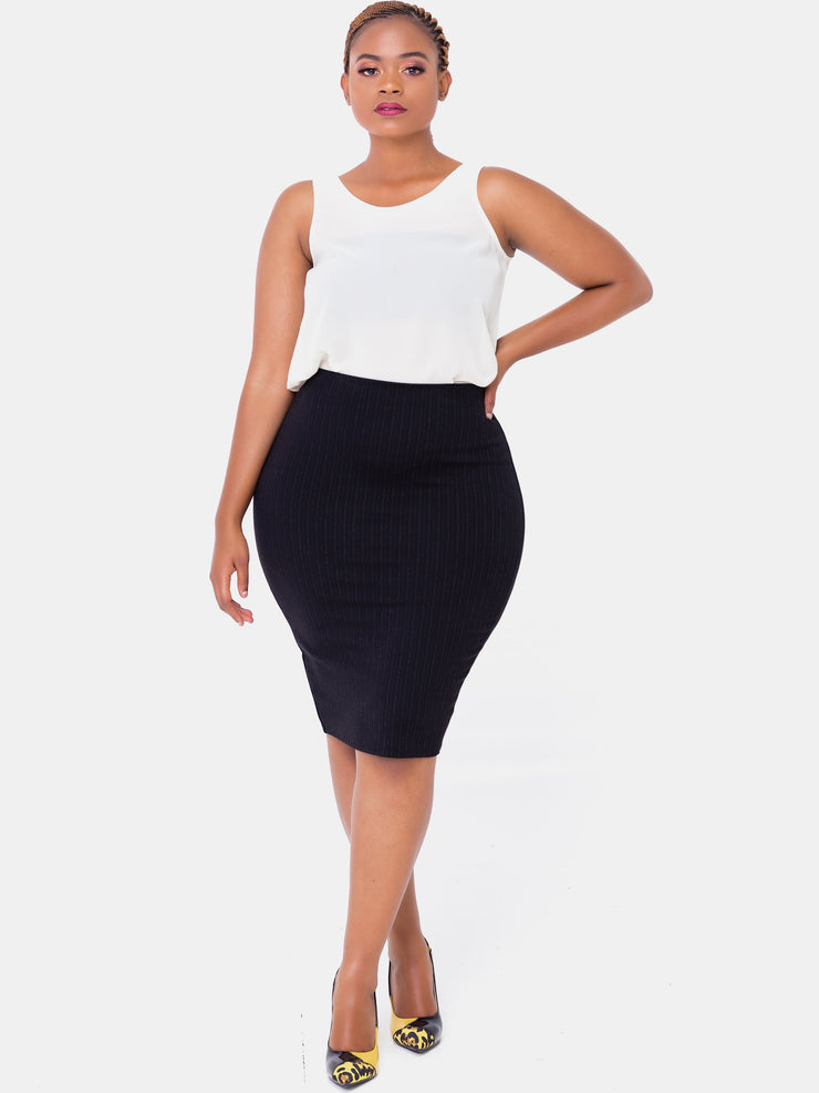 Vivo Basic Pencil Skirt With Slits - Black