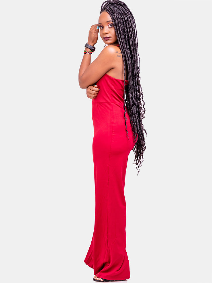Velvet Halter Neck Jumpsuit - Red - Shop Zetu