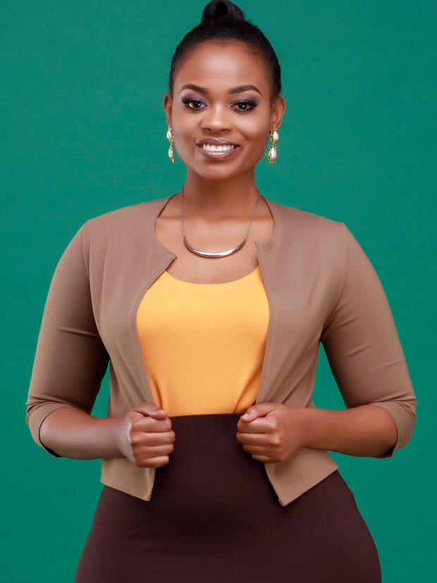 Vivo Basic 3/4 Sleeved JK Jacket - Taupe