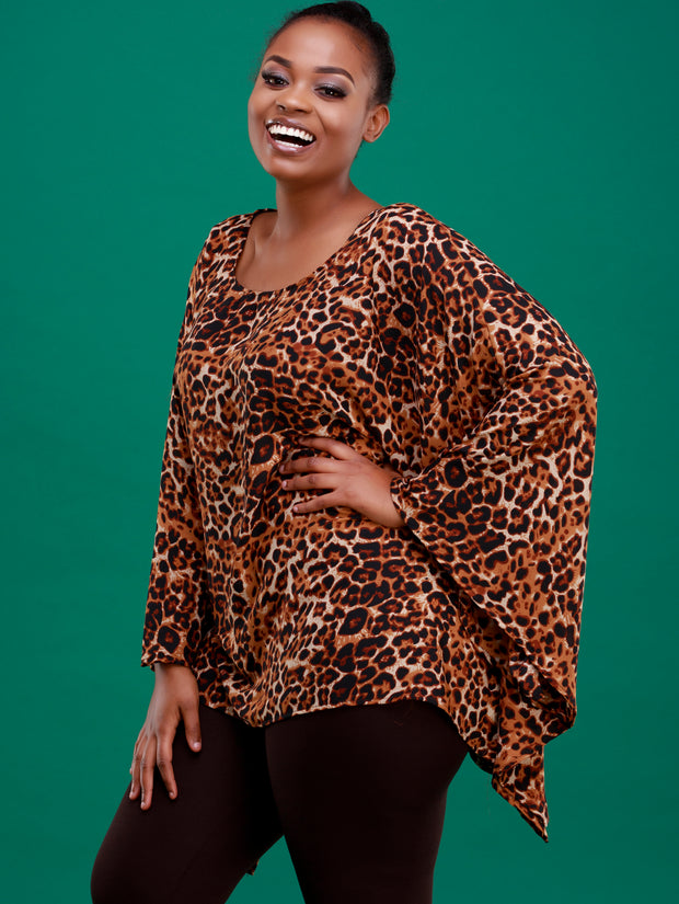 Safari Lamu Loose Chiffon Top - Rust Leopard