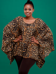 Safari Lamu Loose Chiffon Top  - Grey Leopard