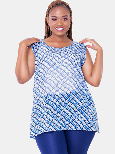 Vivo Harriet Chiffon Top - Blue Print - Shop Zetu