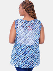 Vivo Harriet Chiffon Top - Blue Print