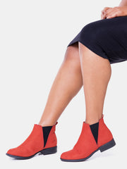 Umbo Ladies' Taracotta Chelsea Boots - Red - Shop Zetu