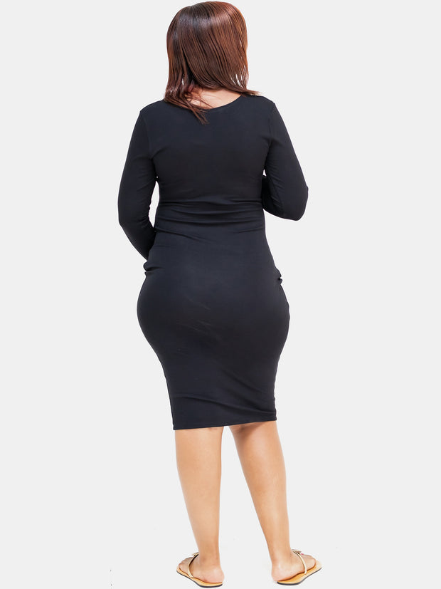 Sowairina Lea Ruched Bodycon - Black