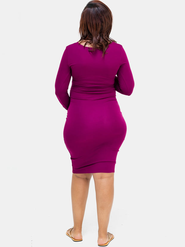 Sowairina Lea Ruched Bodycon - Burgundy
