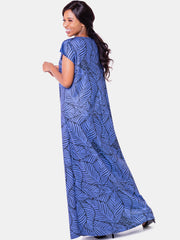 Vivo Tuni Tent Maxi Dress (Tall) - Navy Print - Shop Zetu