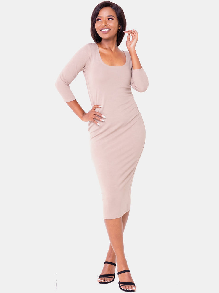 Vivo 3/4 Sleeve Leila Bodycon Dress - Taupe