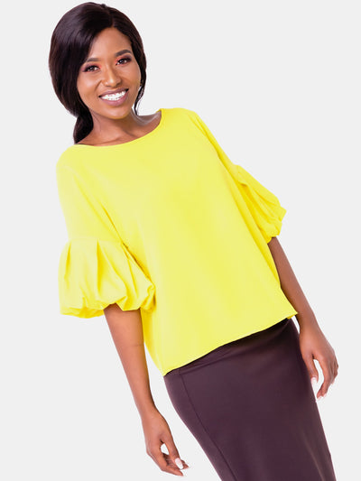 Vivo Boundneck Puff Sleeve Top - Yellow - Shop Zetu
