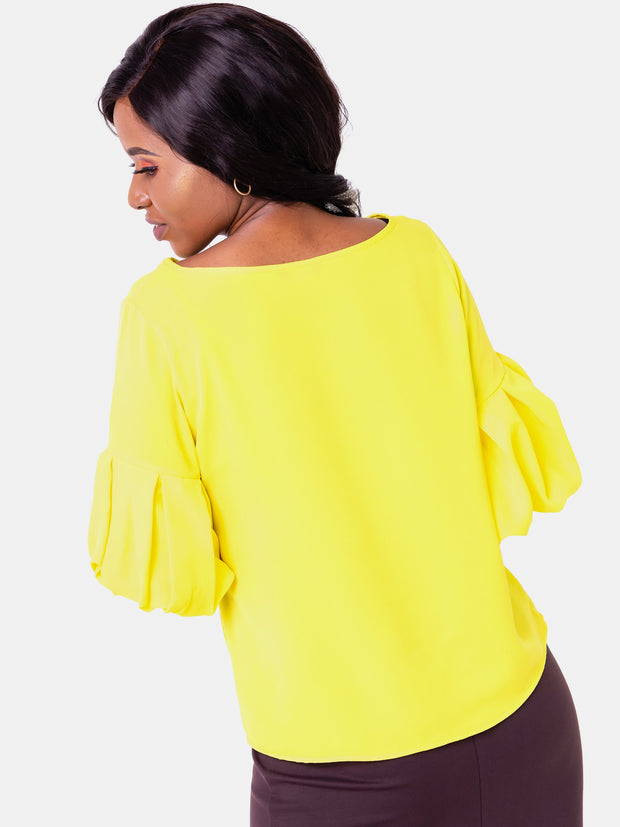 Vivo Boundneck Puff Sleeve Top - Yellow