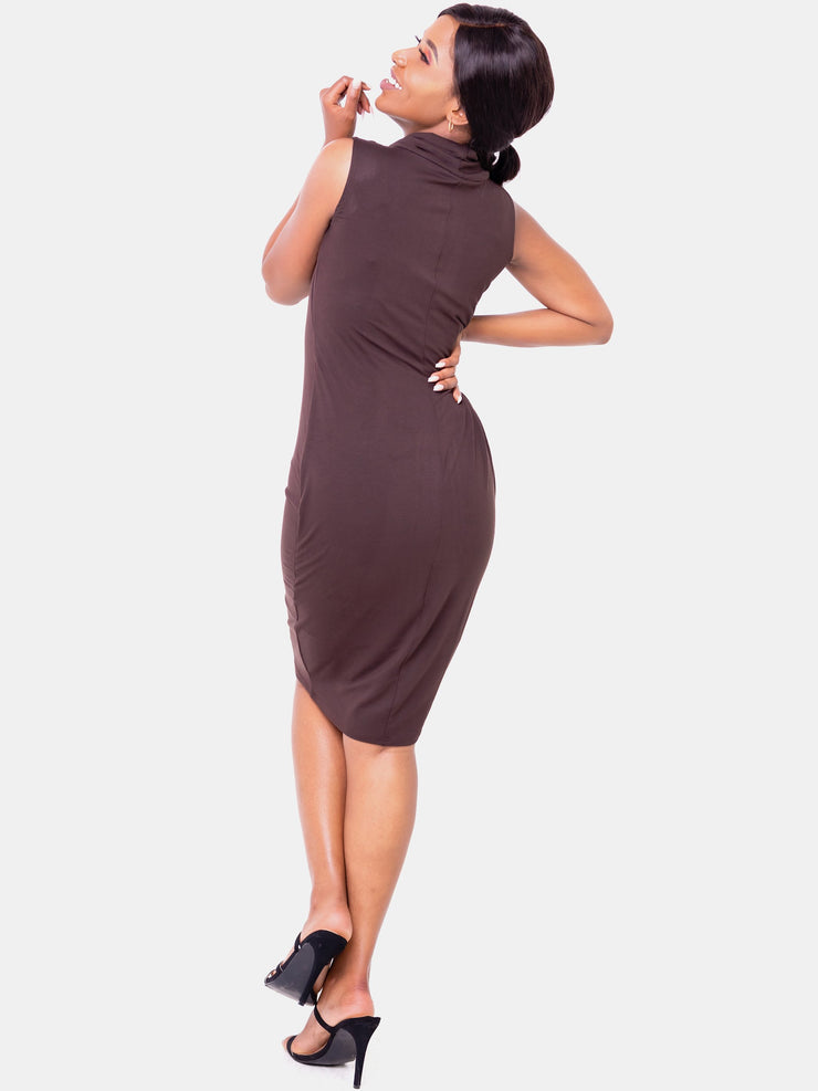 Vivo Sleeveless Cowl Bodycon - Chocolate