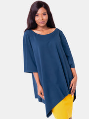 Vivo Asymmetrical Angel Sleeve Top - Dark Teal
