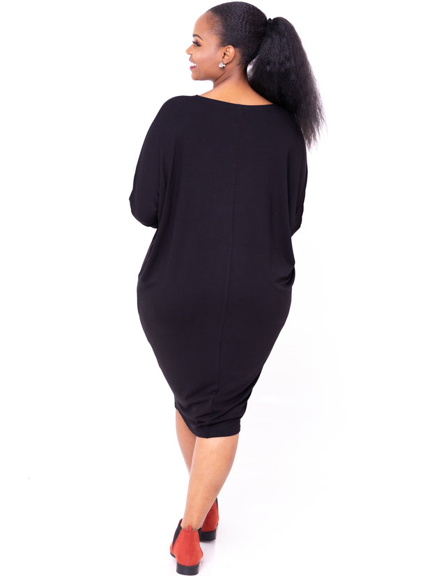 Vivo Basic Cuffed Dolman Jersey Dress - Black