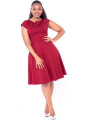 Vivo Cap Sleeve Circular Dress - Maroon