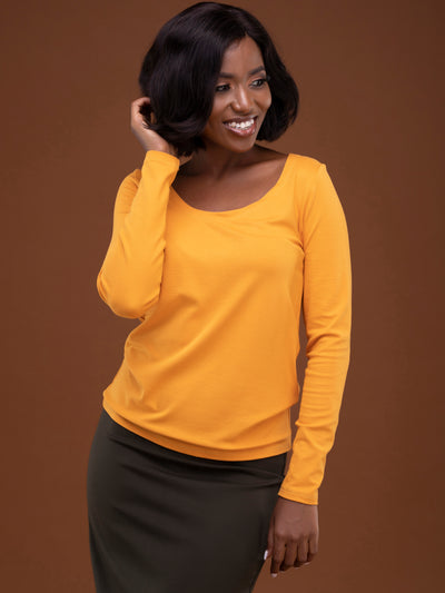 Vivo Basic Tulia Long Sleeved Top -  Mustard