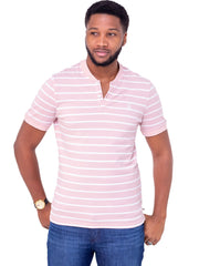 Naiwear Striped Polo T-Shirt - Pink - Shop Zetu