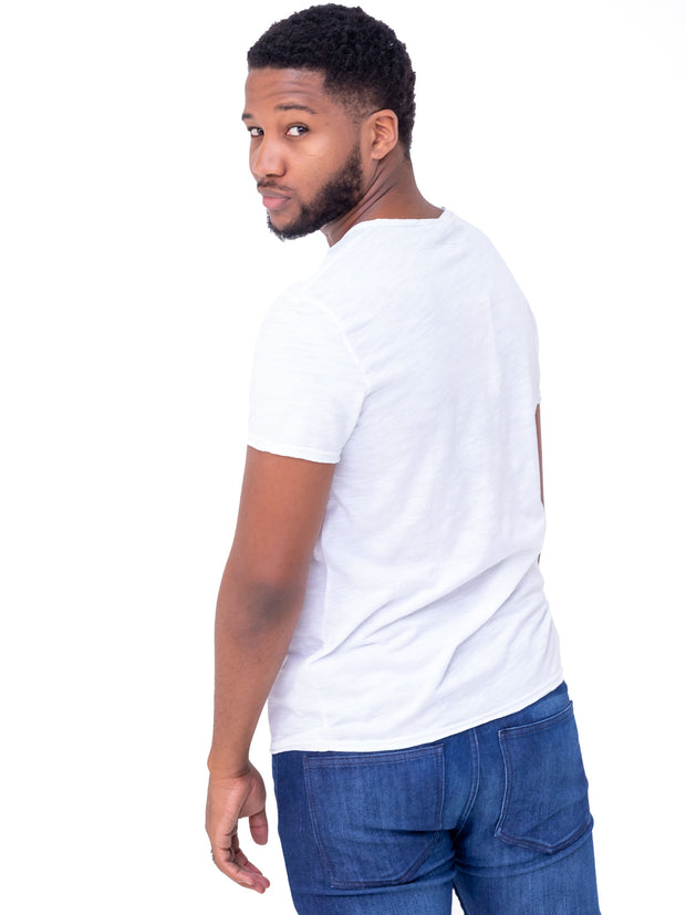 Naiwear V-neck Raw Hem T-Shirt - White