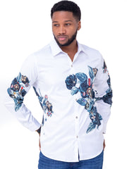 Naiwear Long Sleeved Flower Shirt - White - Shop Zetu