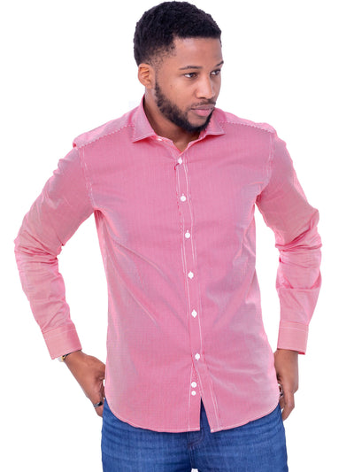 Naiwear Pinstriped Shirt - Red - Shop Zetu