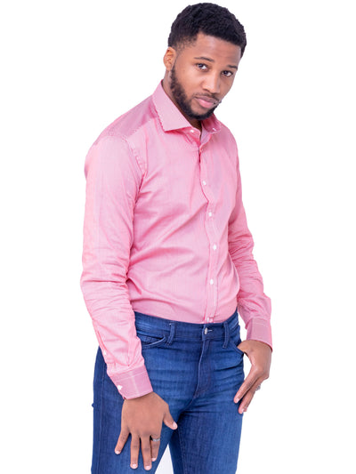 Naiwear Pinstriped Shirt - Pink - Shop Zetu