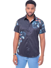 Naiwear Short Sleeved Flower Shirt - Black - Shop Zetu