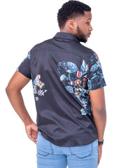 Naiwear Short Sleeved Flower Shirt - Black