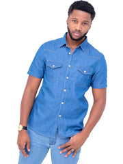 Naiwear Short Sleeved Double Pocket Soft Denim Shirt - Blue - Shop Zetu