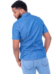 Naiwear Short Sleeved Double Pocket Soft Denim Shirt - Blue