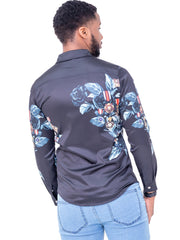 Naiwear Long Sleeved Flower Shirt - Black