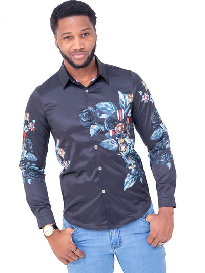 Naiwear Long Sleeved Flower Shirt - Black - Shop Zetu