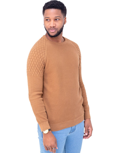 Naiwear Waffle Knit Sweater - Brown - Shop Zetu
