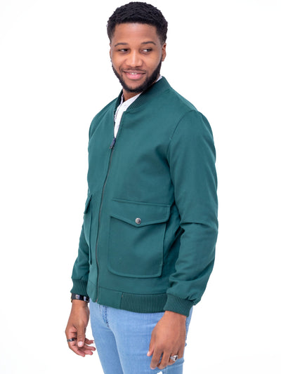 Naiwear Bomber Jacket - Dark Green - Shop Zetu