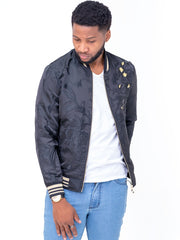 Naiwear Jacquired Bomber Jacket - Black - Shop Zetu