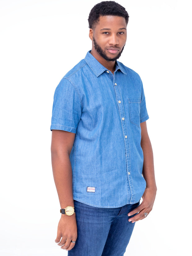 Naiwear Short Sleeved Soft Denim Shirt - Light Blue - Shop Zetu