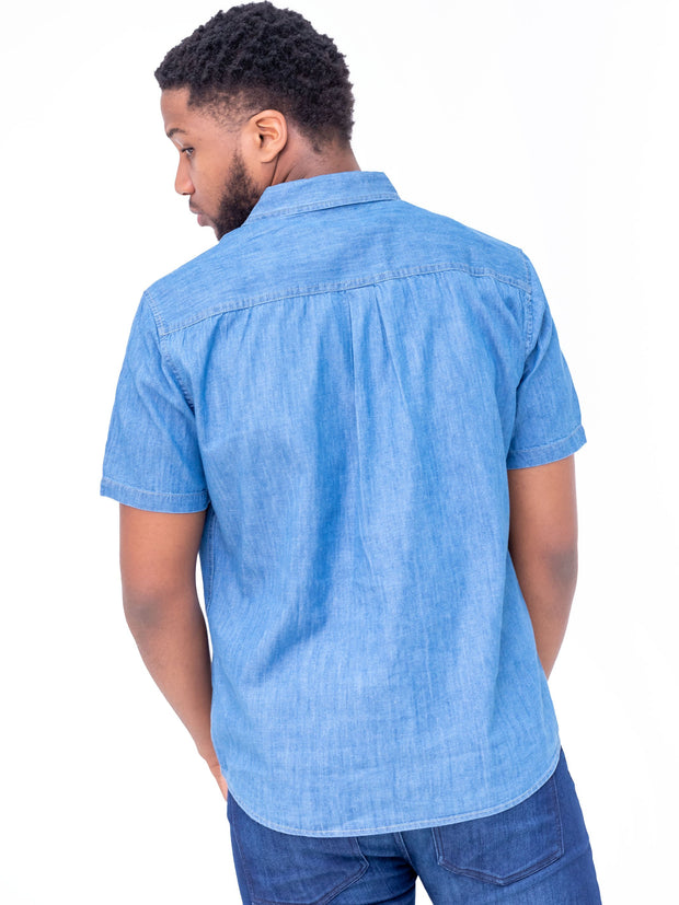 Naiwear Short Sleeved Soft Denim Shirt - Light Blue
