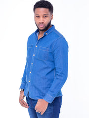 Naiwear Long Sleeved Soft Denim Shirt - Blue - Shop Zetu
