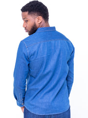 Naiwear Long Sleeved Soft Denim Shirt - Blue
