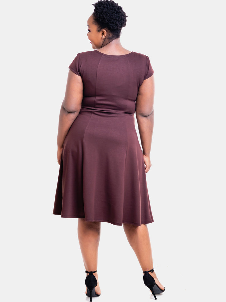 Vivo Panelled A-line Cap Sleeve Dress - Dark Brown