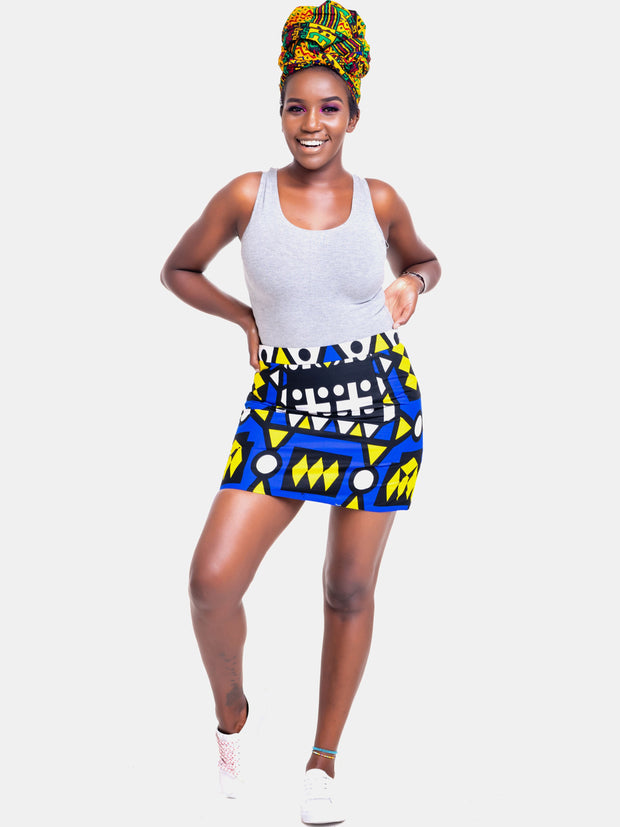 Kidosho Pambo Mini Skirt - Blue Print - Shop Zetu