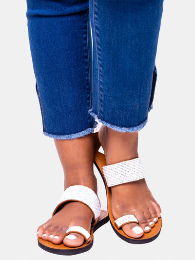 Ikwetta Toe Strap Sandals - White - Shop Zetu