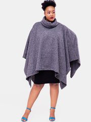 Vivo Turtleneck Poncho - Grey