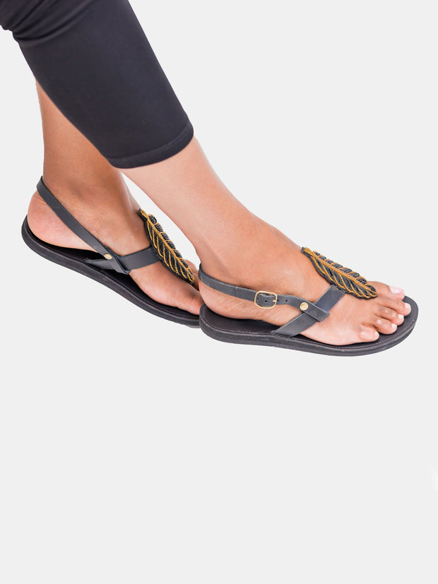 Ikwetta Fall Sandals - Black - Shop Zetu