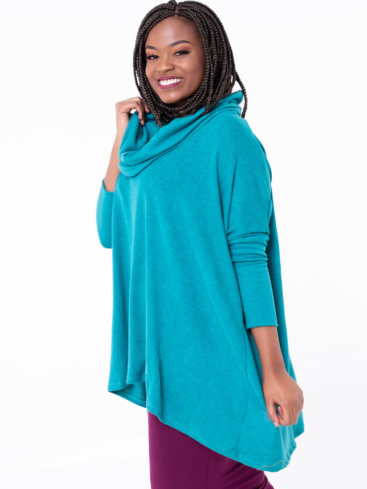 Vivo Cowl Hoodie - Sea Green - Shop Zetu