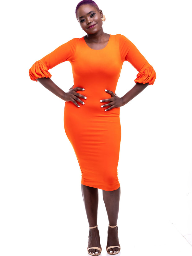 Vivo Puff Sleeve Bodycon - Orange
