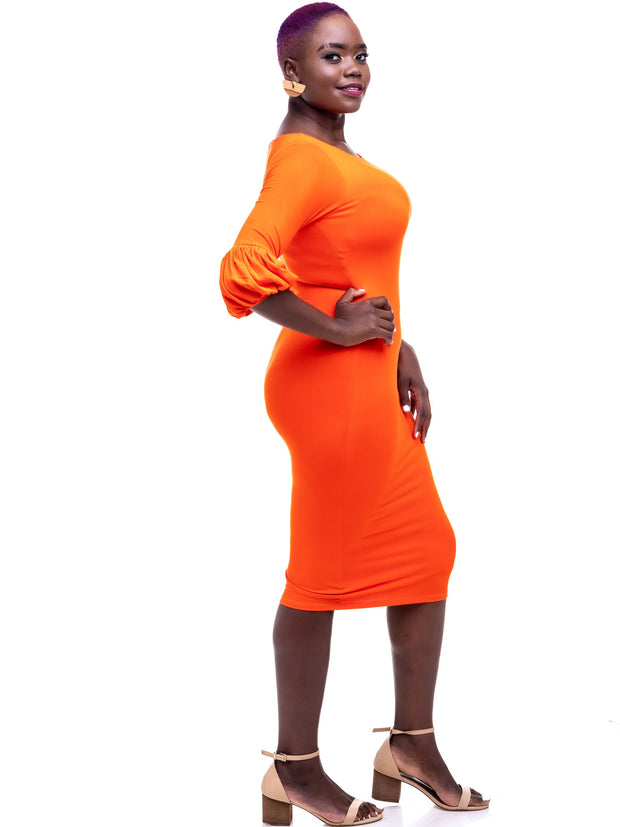 Vivo Puff Sleeve Bodycon - Orange - Shop Zetu