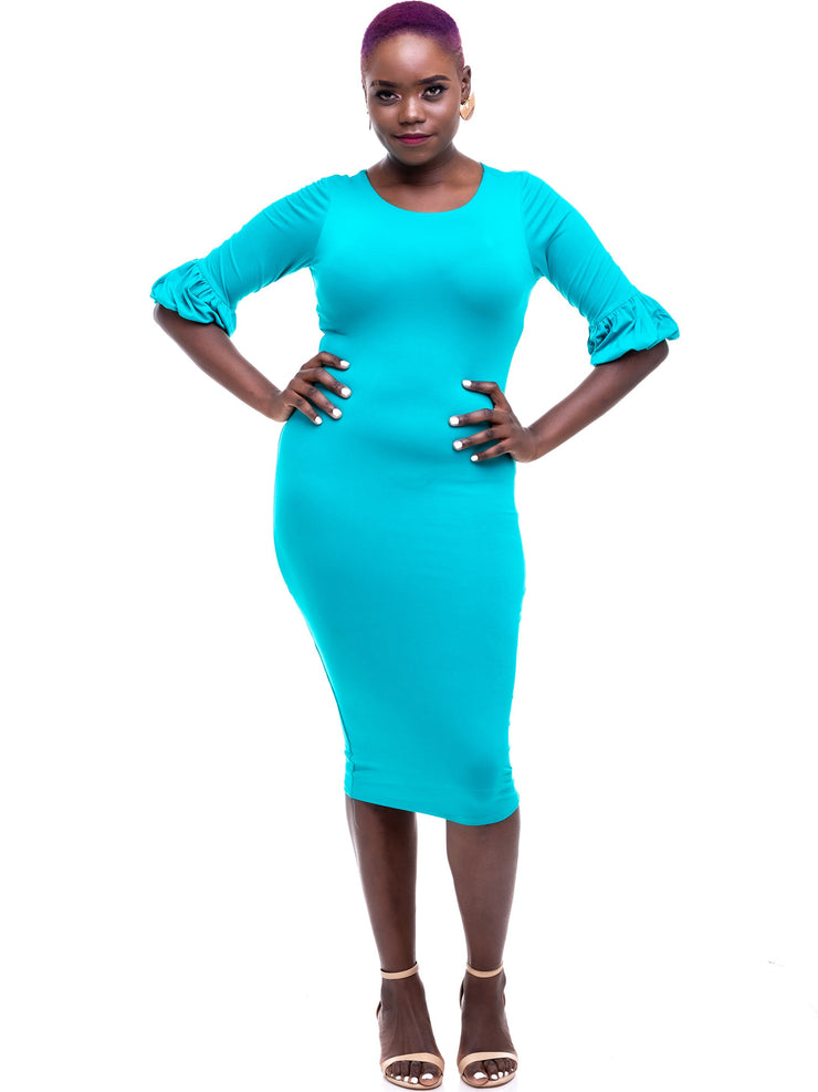 Vivo Puff Sleeve Bodycon - Sea Green