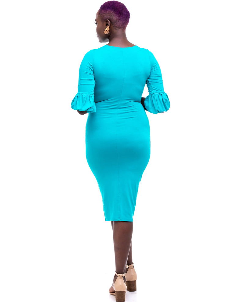 Vivo Puff Sleeve Bodycon - Sea Green - Shop Zetu