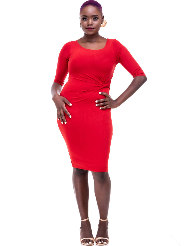 Vivo Side Twist Dress - Rust - Shop Zetu