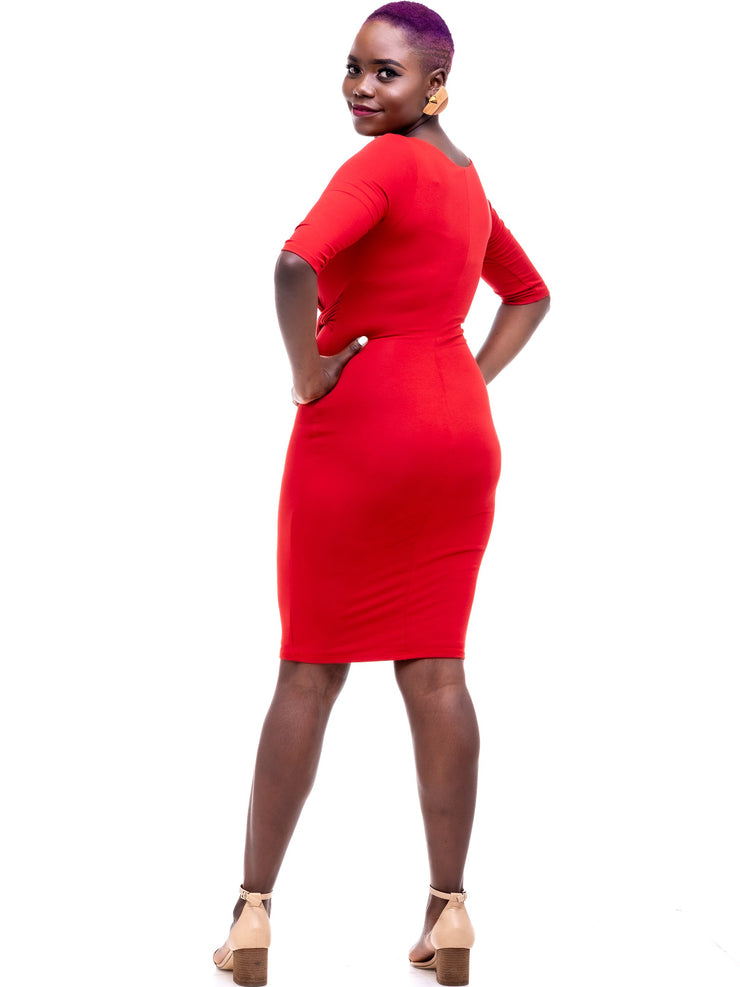 Vivo Side Twist Dress - Rust