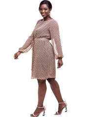 Vivo Zawadi Shift Dress - Brown Print - Shop Zetu
